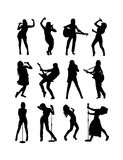 Guitarist and Singer Silhouettes Stock Image