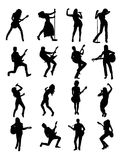 Guitarist and Singer Silhouettes Royalty Free Stock Photography