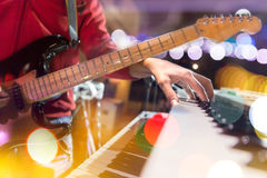 Guitarist on stage.Lifestyle of musicians Royalty Free Stock Image