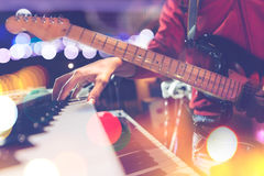 Guitarist on stage.Lifestyle of musicians Stock Photos