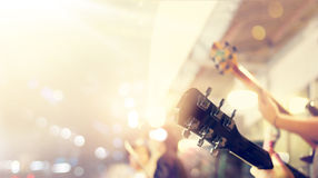 Guitarist on stage, soft and blur concept Royalty Free Stock Photography