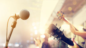 Guitarist on stage, soft and blur concept. Guitarist on stage outdoor, soft and blur concept Stock Image