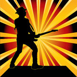 Guitarist Starburst Background Stock Image