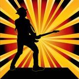 Guitarist Starburst Background. Background illustration of a guitarist over a starburst Stock Image