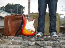 The guitarist. Waiting for the uncertain future Royalty Free Stock Photos