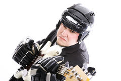 Guitarist with white guitar Stock Image