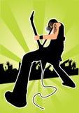 Guitariste à un concert de rock Photos libres de droits