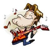 Guitariste de roche sur l'étape. Photographie stock
