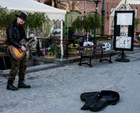 Guitariste de rue Photographie stock