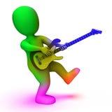 Guitariste jouer et caractère de Shows Music Guitar de roche Photos libres de droits