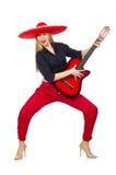 Guitariste mexicain de femme Images stock