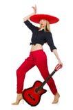Guitariste mexicain de femme Photographie stock