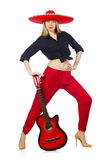 Guitariste mexicain de femme d'isolement Image libre de droits