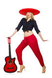 Guitariste mexicain de femme d'isolement Image stock
