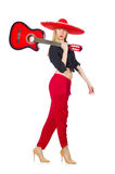 Guitariste mexicain de femme d'isolement Photo stock