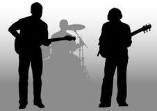 Guitaristes et batteur illustration stock