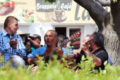 Guitaristes gitans en Saintes Maries de la Mer, France Photos stock