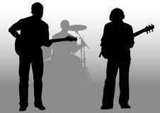 Guitarists and drummer. Vector drawing musical group on stage. Silhouettes on white background Stock Photos