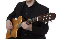 Guitarplayer on white Stock Photos