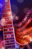 Guitarra acústica da ilustração com fundo vermelho e azul preto Fotos de Stock
