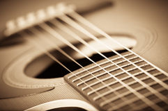 Guitarra acústica de Grunge Foto de archivo libre de regalías
