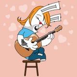 Guitarra acústica del conejo Fotografía de archivo libre de regalías
