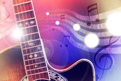 Guitarra acústica del ejemplo con las luces rojas y azules horizontales stock de ilustración
