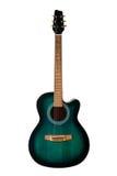 Guitarra acústica negra y verde, aislada en un blanco Imagenes de archivo