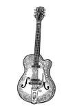 Guitarra acústica semi Ejemplo del grabado del negro del vector del vintage ilustración del vector