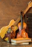 Guitarra acústica, violino, livro e ábaco Fotografia de Stock Royalty Free