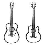 Guitarra acústica y baja de la pintura de la tinta Fotos de archivo