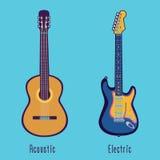 Guitarra acústica y eléctrica en color Foto de archivo libre de regalías