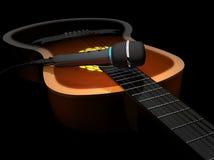Guitarra acústica e microfone em um illustra escuro do fundo 3d Fotografia de Stock Royalty Free