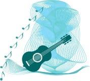 Guitarra azul Fotografía de archivo
