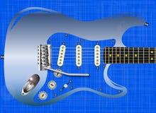 Guitarra azul del Grunge Imagen de archivo libre de regalías