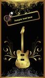 Guitarra baixa dourada ilustração stock