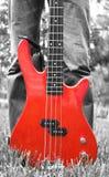 Guitarra baixa vermelha na grama Imagens de Stock