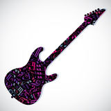 A guitarra-baixo brilhante do vetor encheu-se com as notas musicais, decorativas Fotos de Stock Royalty Free