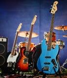 Guitarra-baixo, ritmo, ligação Fotografia de Stock Royalty Free
