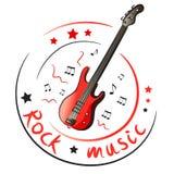 Guitarra baja y notas musicales Fotografía de archivo libre de regalías