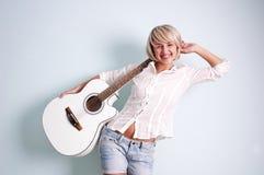 Guitarra blanca Foto de archivo libre de regalías