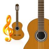 Guitarra clásica en el fondo blanco Fotografía de archivo libre de regalías