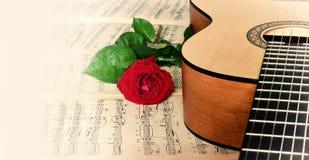 A guitarra clássica e levantou-se Imagem de Stock