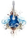 Guitarra com flourishes Imagens de Stock Royalty Free