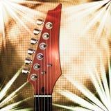 Guitarra com fundo da bola do espelho ilustração do vetor