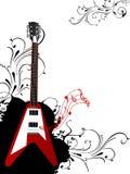 Guitarra con diseño floral Fotos de archivo libres de regalías