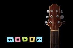 Guitarra con la muestra de radio del botón del jugador Imagen de archivo libre de regalías