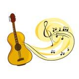 Guitarra con las notas de la música Fotos de archivo libres de regalías