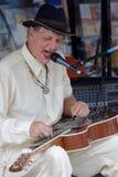 Guitarra da corrediça dos jogos de Watermelon Slim do Bluesman Imagem de Stock