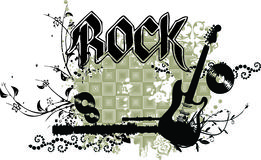 Guitarra de Grunge con el encabezamiento y los ornamentos de la ROCA ilustración del vector